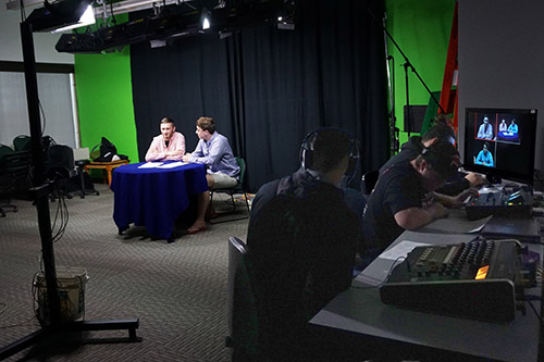 students in the video studio