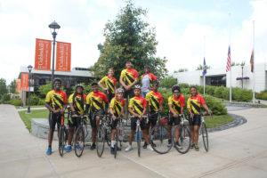 "The ""I Challenge Myself"" Bike Tour cyclists gathered at SUNY Cobleskill"